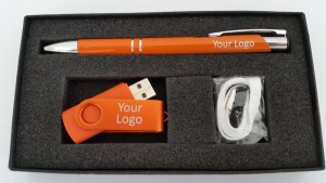 2 ring jotta pen ands swivel gift set orange white lanyard