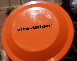 full colour viny sticker - clear on orange frisbee