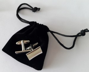 rectaungular sides cufflinks with Velvet Pouches